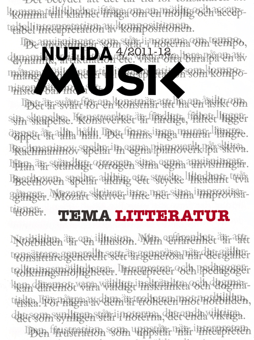 Nytt nummer av Nutida Musik: tema litteratur
